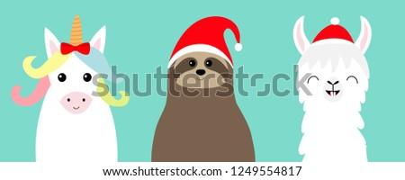 c0b682adac6da Llama Alpaca Sloth Face Set Red Stock Illustration 1249554817 ...