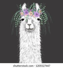 Llama with floral wreath. Hand drawn illustration.