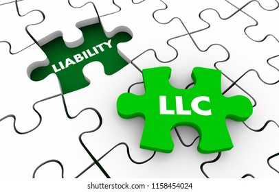 LLC Limited Liability Corporation Protect from Liabilities Puzzle 3d Illustration