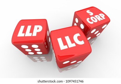 LLC LLP S-Corp Dice Business Types Words 3d Render Illustration