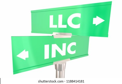 LLC Vs Incorporation Company Business Models 2 Two Way Road Signs 3d Illustration