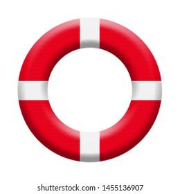 Llifebuoy, Safety Inflatable Ring.Nautical Life Rescue Equipment Isolated On White Background Illustration