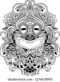 llustration hand drawn of Frog isolated. Black and white ornamental doodle frog illustration with zen tangle decorative ornament