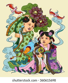 llustration of traditional Chinese Pattern and Drawing W12
