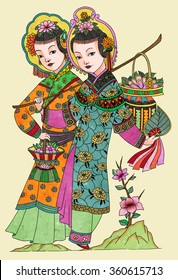 llustration of traditional Chinese Pattern and Drawing W09