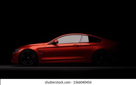 lmaty, Kazakhstan February 10, 2019. BMW M4 F82 on the black background. 3D render