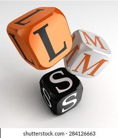LMS Learning Management System acronym orange black dice blocks on white background