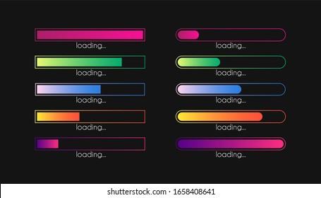 Load bar. Progress gradient download interface. Loading sign. loader concept. Minimal upload set