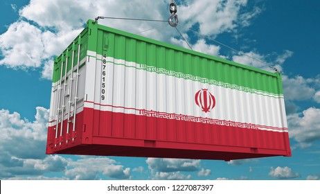 Loading cargo container with flag of Iran. Iranian import or export related conceptual 3D rendering