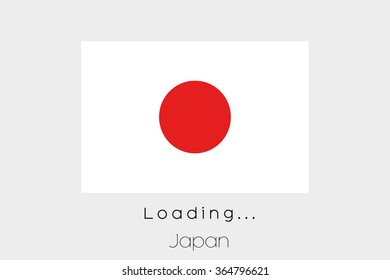 A Loading Flag Illustration of the country of Japan