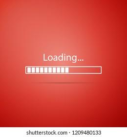 Loading icon isolated on red background. Progress bar icon. Flat design