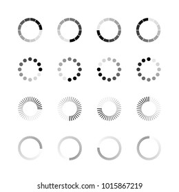 Loading icon set. Simple template of gradually upload or download indicator. illustration isolated on white background