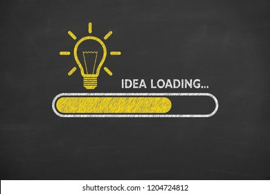 Loading idea concepts with light bulbs on a chalkboard background