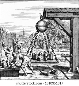 Loading Magdeburg hemispheres suspended, vintage engraved illustration. From the Universe and Humanity, 1910.