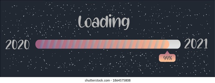 Loading New Year 2020 To 2021 . Progress Bar with blue  background and stars. Happy New Year 2021