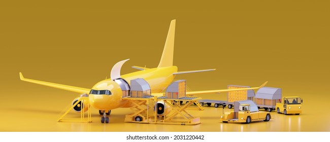 Loading unit load devices on cargo airplane. Aircraft containers, loading platform, airport cargo transporters. Air freight transportation. 3d illustration