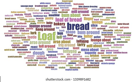 Loaf Word Cloud In Rows Isolated On White