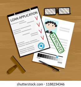 Loan application approved. Mortgage approval, loan concept, car loan approved illustration