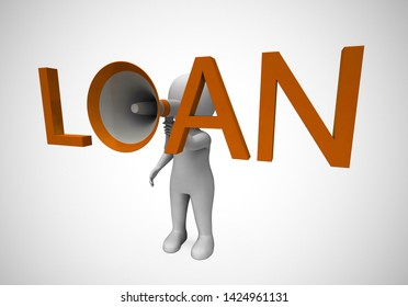 Loan or credit concept icon means borrowing money to be in debt. Borrowed funds on a loan agreement - 3d illustration