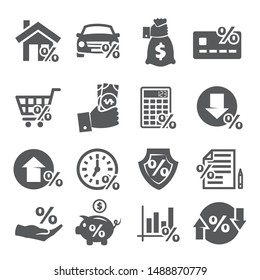 Loan and Credit icons on white background
