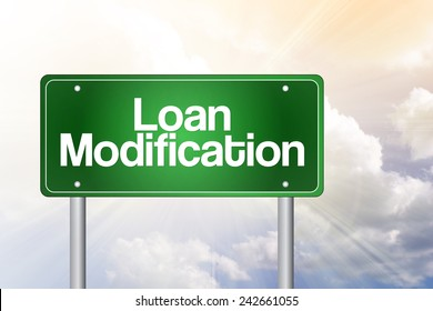 Loan Modification Green Road Sign, business concept