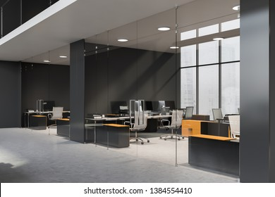 Lobby of business center with gray walls and rows of small offices with glass doors and yellow and black tables. 3d rendering