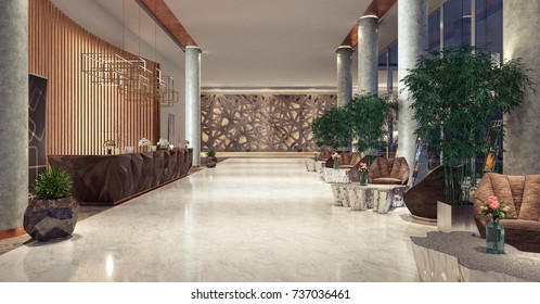 Lobby entrance with reception desk and lounge area 3D Rendering, 3D Illustration