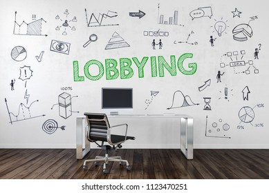 LOBBYING concept in a corporate business with an empty work station in an office with assorted business and performance icons hand drawn on the wall and text. 3d Rendering