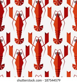 Lobster background. Animal pattern. Seafood background. Seamless vintage pattern with geometric lobsters. Can be used for restaurant menu. Raster version of vector