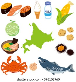 local specialty foods and Island shape of Hokkaido Japan