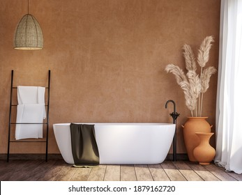 Local style bathroom with blank orange wall 3d render,There are old wood floor decorate with rattan lamp and terracotta jar with dry reed flower.