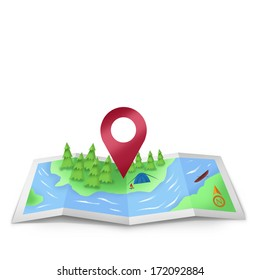 Location Icon on foldable map illustration