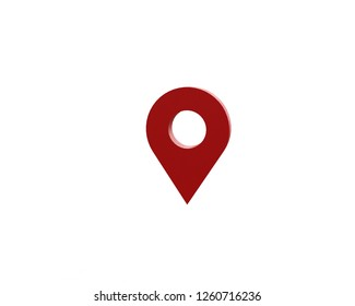 LOCATION pin glossy red arrow. The concept of tagging a sign landmark needle tip to create a route search. Isolated on white background 3D rendering 3D.