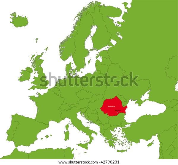Location Romania On Europa Continent Stock Illustration 42790231