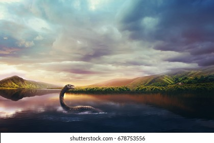 Loch Ness Monster in the lake at sunset