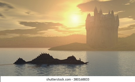 Loch Ness Monster and Scottish Castle Computer generated 3D illustration