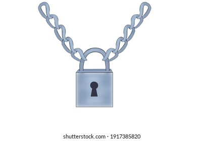 Lock attached with chain steel or silver color illustration.