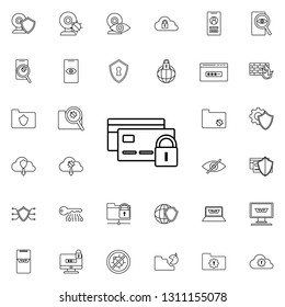 lock credit cards icon. Virus Antivirus icons universal set for web and mobile