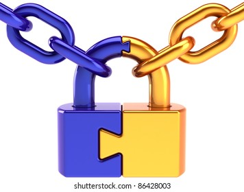 Lock padlock security puzzle safeguard. Closed chain link secret code encryption hacker abstract. Strong password hold icon concept. Detailed 3d render. Isolated on white background