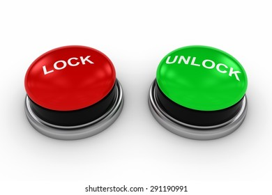 LOCK and UNLOCK Buttons on White Background