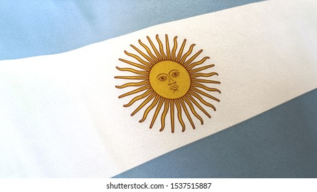locked full-screen close shot of the national flag of Argentina seamlessly waving in the wind. The banner/emblem is made of realistic satin texture and rendered in a daylight situation.