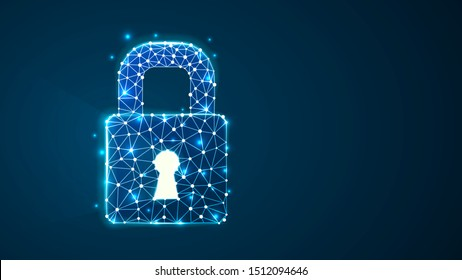 Locked padlock with long light shadow from the keyhole. Raster illustration consisting of points, lines, and shapes in the form of planets, stars, and the universe. Data security concept