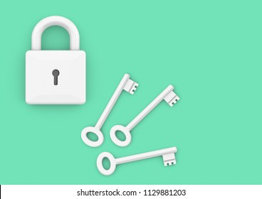Locked padlock with three keys. Minimalist style concept for business, careers, key to success, unlocking potential and security, 3D rendering