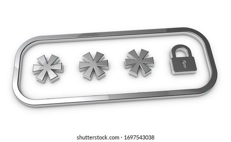 Locked Password Field - Silver Metallic 3D Illustration - Isolated On White Background