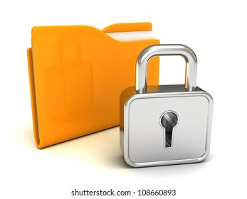 locked yellow folder with closed padlock on white background