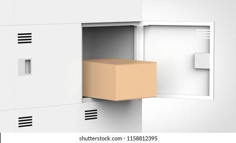locker and cardboard 3d rendering