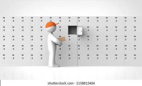 locker and delivery man front 3d rendering