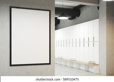 Locker room with framed poster hanging on a light gray wall, a row of white storage lockers near the wall and a bench with rolled towels on it. 3d rendering. Mock up.