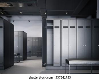Locker room in modern loft interior with black cabinets. 3d rendering