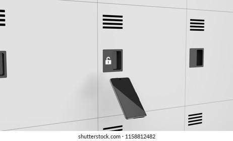 locker and smart phone 3d rendering